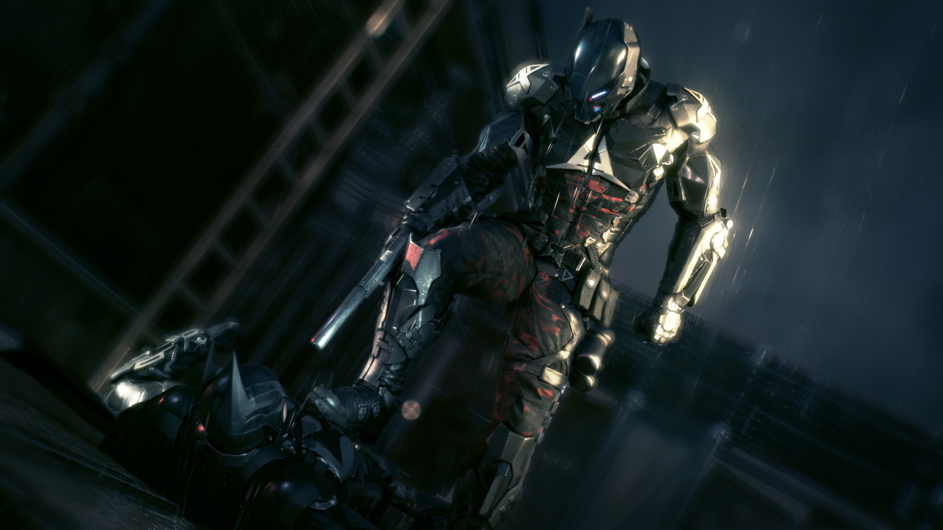 The Arkham Knight lording it over Batman.