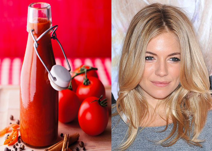 Sienna Miller Uses Tomato Ketchup