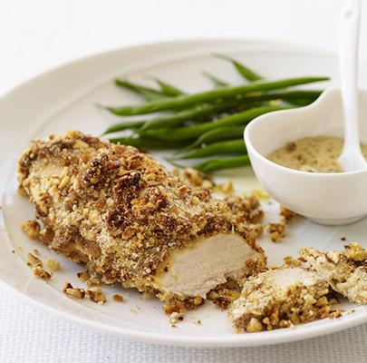 Mustard-Baked Chicken with a Pretzel Crust