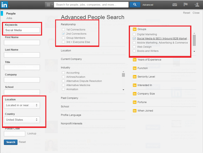 Use LinkedIn Advance Search Feature
